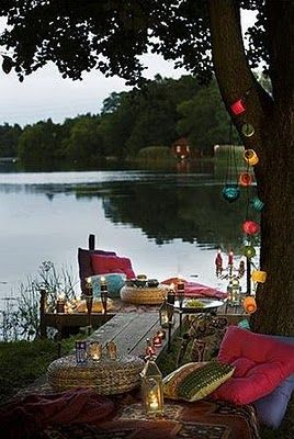 by the waterLights, Lakes House, Outdoor, Dinner Parties, Picnics, Gardens, Places, Saturday Night, Bohemian