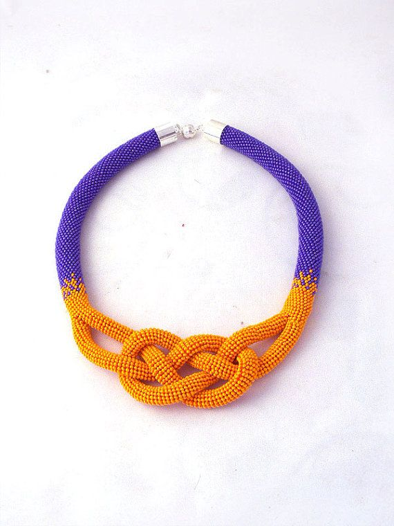 Beads crochet rope necklace a purple and orange by RebekeJewelry