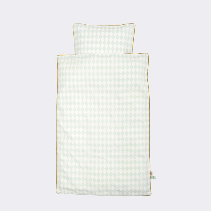 cute, but would have to figure out size is you like. It's cm and only one size, so probably twin. Junior Harlequin Bedding in Mint design by Ferm Living