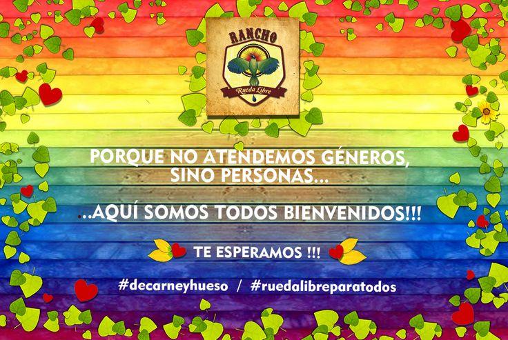 Porque no atendemos géneros sino personas, aquí somos todos bienvenidos. Como #hostal y como cultura global e incluyente esta es nuestra propuesta! #RUEDALIBREparatodos #DeCarneyHueso  La igualdad de géneros y la aceptación de los gustos sexuales es cultura de nuestro hostal en Santa Elena, Medellin.