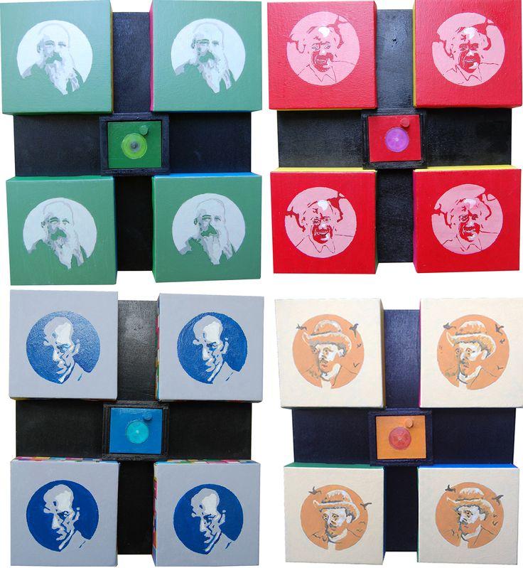 """""""Ritratti"""" acrilici su tele composte, cm 80 x76, 2014"""