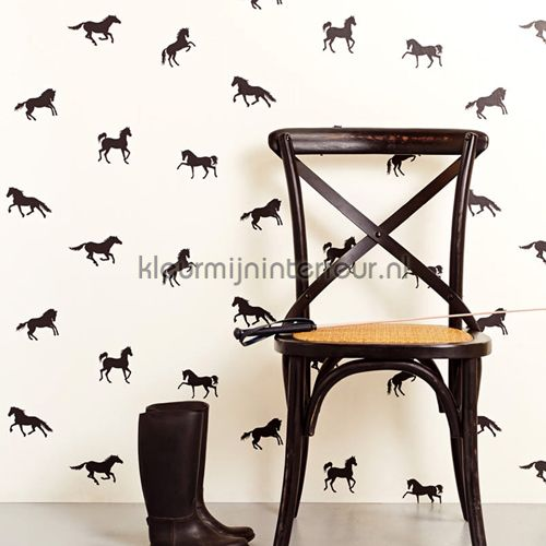 In galop zwart behang 351755 paarden Eijffinger