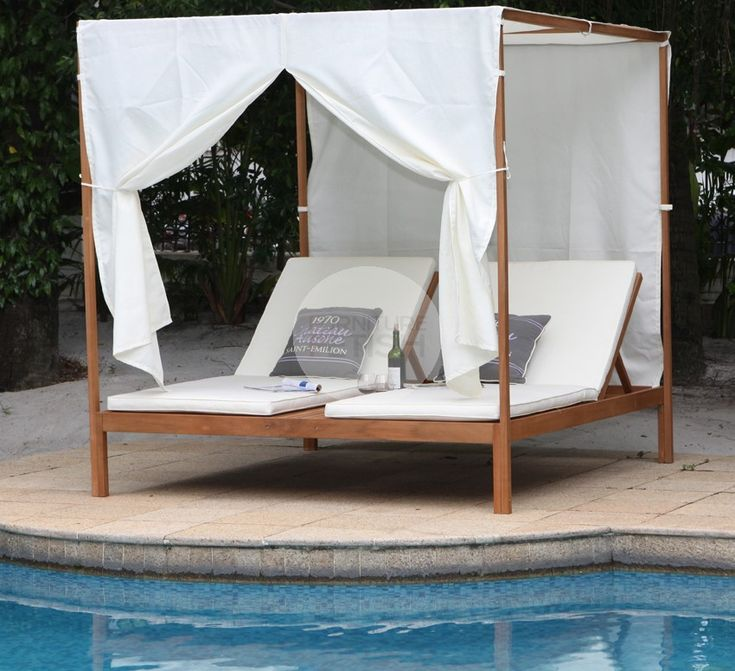 This gorgeous Euro Italia Outdoor Day Bed / Sun Lounge is the leading trend in Europe combining both timber and outdoor fabrics into a luxury outdoor setting. Get the complete luxury feel and enjoy with a friend or loved one. Our Euro Italia Day Bed / Sun Lounge includes 2 x full size sun lounges with adjustable backrest, wooden framing and you can choose to relax in privacy or in the open space by attaching the side covers.