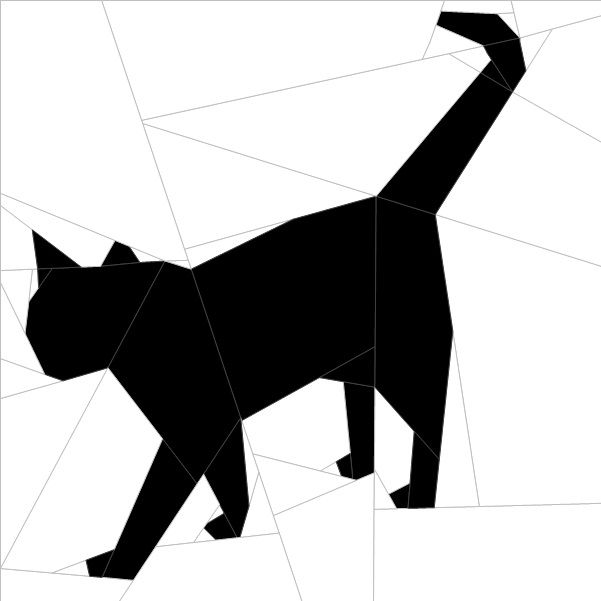 "Silhouette Cat #11 10""(26 cm) Paper Pieced patterns quiltartdesigns.blogspot.com"