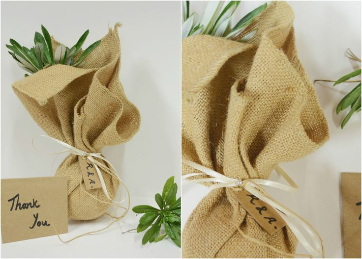 The many uses of our Jute Squares (comes in sheets of 10): a cost productive way of creating a rustic style bonbonniere.  #rusticwedding #weddingideas #wedding #rustic #jute #hessian #succulent #weddinginspo #ribbon #Barama #thankyou