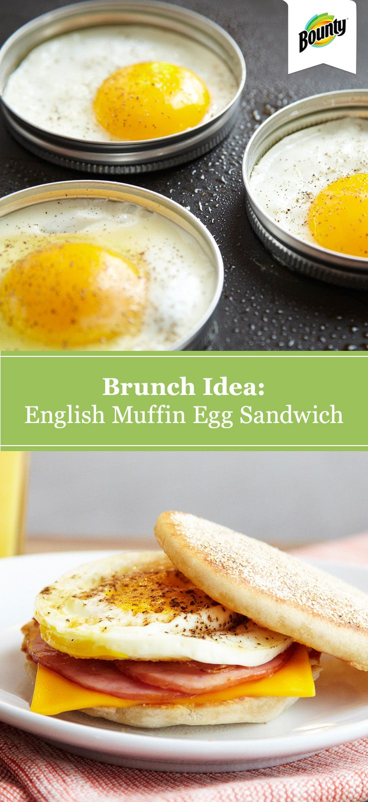 This English muffin egg sandwich recipe makes a quick and easy on-the-go breakfast. It's also a great brunch idea! Tip: You can use a Mason jar ring mold to create perfectly round, evenly cooked eggs.