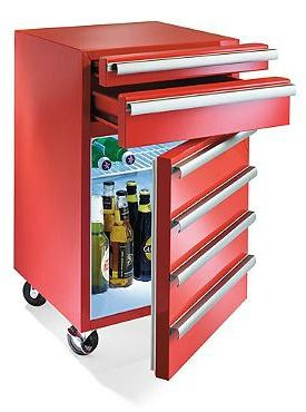 "The perfect gift for your husband's ""man cave"", the 2-drawer Toolbox Fridge is a handy-man inspired item that he's sure to love."