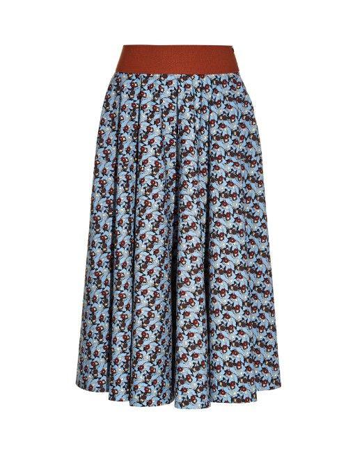 MARNI Ditsy Floral-Print Midi Skirt. #marni #cloth #skirt