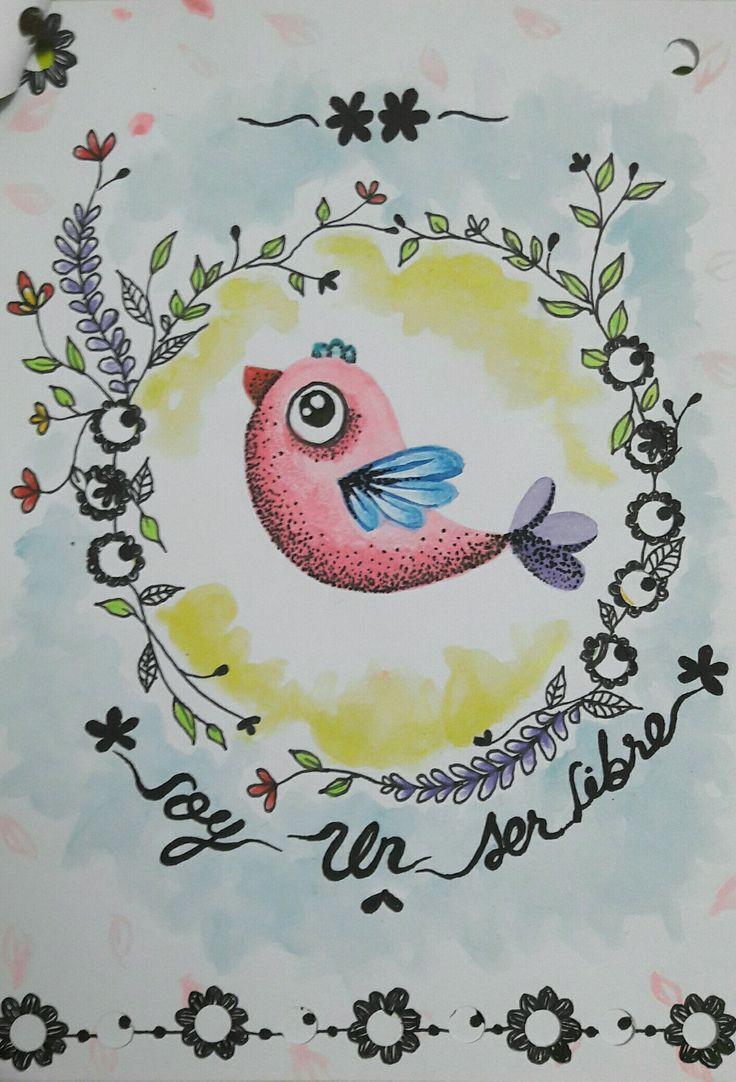 Ilustración: pájaro acuarela