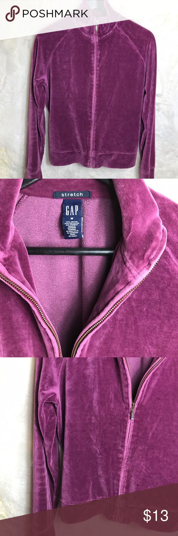 "✨GAP Velour Zip up sweater ✨ GAP Women's size M Purple Stretch Velour Track  zip up Jacket Activewear    Pre-owned No rips, tears, marks or stains Please see pictures for details  Armpit to Armpit laying flat - 20"" Length - 23.5"" GAP Sweaters"
