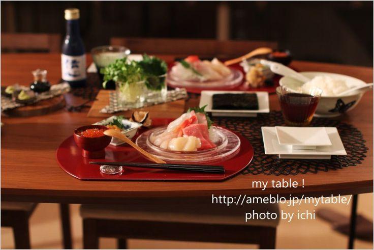 半月盆で手巻き~手巻き~|my table !