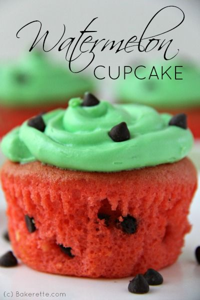 A simple chocolate chip cake recipe creates these adorable watermelon cupcakes that will liven up any spring or summer party. Bakerette.com