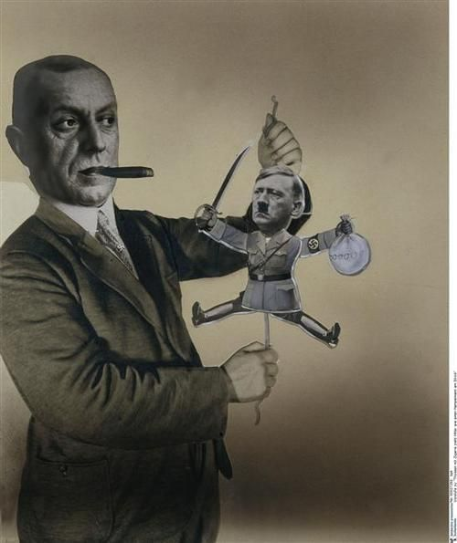 "John Heartfield, Sketch for poster: ""Fritz Thyssen puppet plays with Adolf Hitler"" , 1933 photomontage."