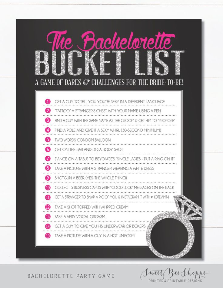 INSTANT DOWNLOAD! Bachelorette Party Game/Hens Party Game: The Bachelorette Bucket List!!  Give your bride one last fling before the ring with this hilarious Bachelorette Bucket List! With the help of her girls, the bachelorette has to cross off everything on her bucket list before she can officially leave her single life behind her. :)  H O W ⋆ I T ⋆ W O R K S ---------------------------------------------- 1. Add listing to cart & submit your payment. 2. Instant Download! Youll receive a…