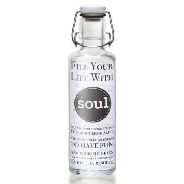 "Soulbottle ""Fill Your Life With soul"" - Trinkflasche aus Glas - green your life - Nachhaltiges Design online kaufen"