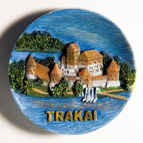 Resin Fridge Magnet: Lithuania. Trakai Island Castle View (Plate Shaped)