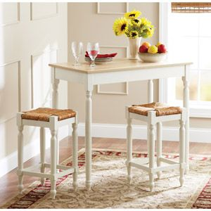 Better Homes and Gardens Autumn Lane 3 Piece Pub Dining Set, White and Natural