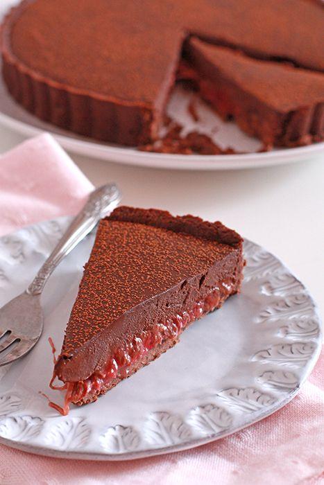 dark chocolate and rhubarb tart