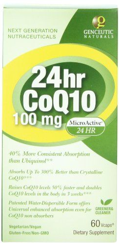 Genceutic Naturals 24 Hr Microactive CoQ10 Herbal Supplement 100 Mg, 60-Count >>> Click on the image for additional details.
