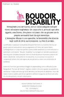 """La disabilità è negli occhi di chi guarda.: """"BOUDOIR DISABILITY"""", abbattere le discriminazioni..."""