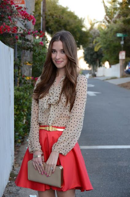 love the whole thing, ill take 2~: Outfits, Polka Dots, Fashion, Skirts, Style, Color, Coral Skirt, Bright Skirt, Polkadots