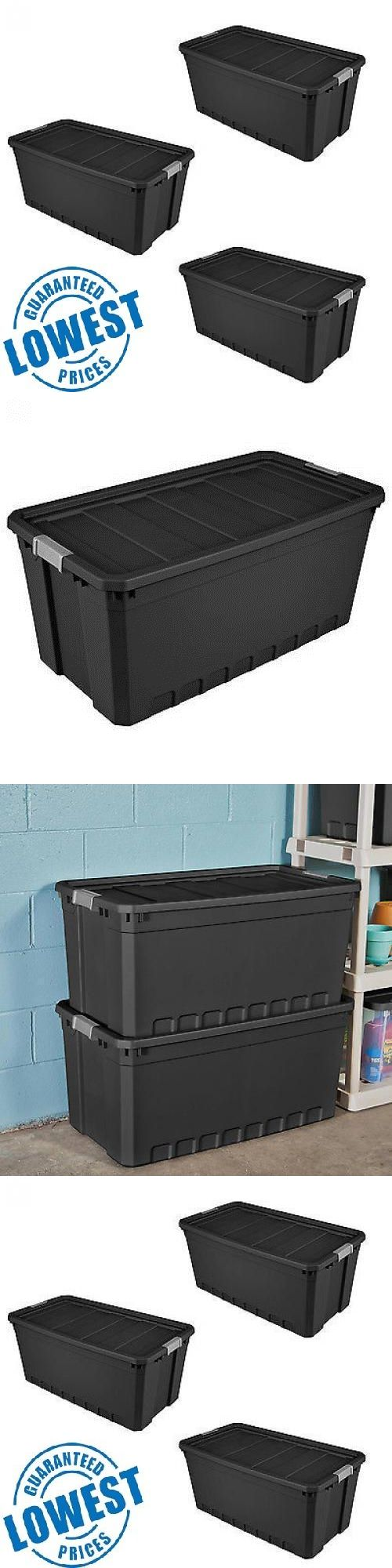 Storage Boxes 159897: 3Pc Plastic Storage Containers Large Box 50 Gallon Stacking Case Black Bin Boxes -> BUY IT NOW ONLY: $61.95 on eBay!