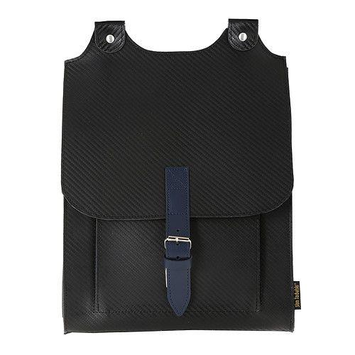 Kožený batoh černý s modrým řemínkem