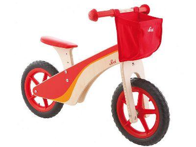 Bike di legno Sevi: imparare ad andare su 2 ruote sarà facilissimo! Il pratico cestino di tela posizionato davanti è perfetto per portare con sé i suoi giochi preferiti.