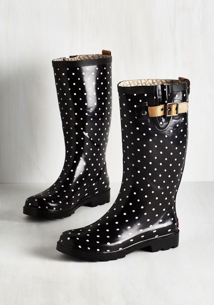 Puddle Jumper Rain Boot in Black Dots. Be ready for whatever the weather brings your way with these black rain boots! #black #modcloth