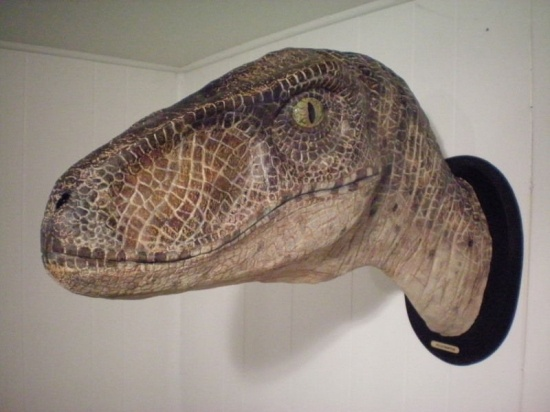 """wall-mounted deinonychus """"head"""", without the BS feathers on it. WANT."""