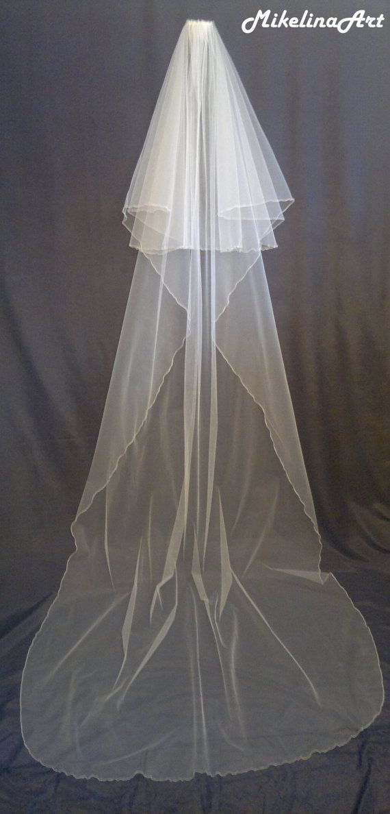 Cathedral Veil Two Layers Ivory by MikelinaArt on Etsy