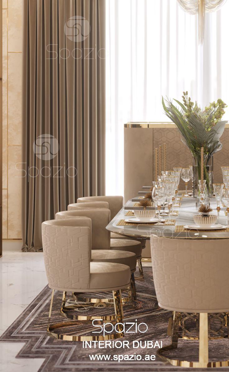 Beautiful elegant dining room decor created by spazio interior decoration dubai order elegant interior design for your home in dubai