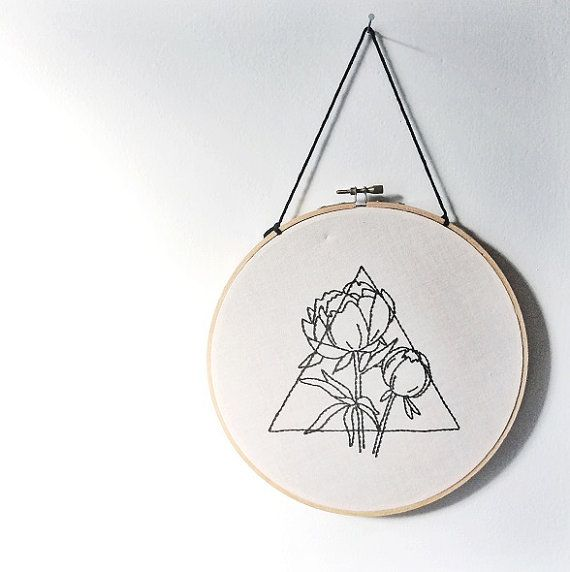 Triangle and Peony Hand Embroidered Wall Art, Geometric, Floral, Prism…