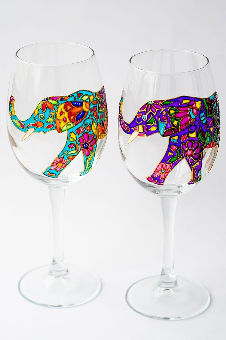 Wine Gift Elephant Wine Glasses Hand Painted, Wine Glass for Bridesmaid, Wedding Glasses