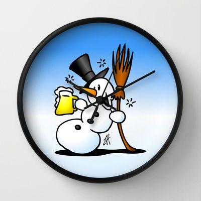Snowman drinking a beer wall clock. #Society6 #Cardvibes #Tekenaartje #winter #snow #apresski