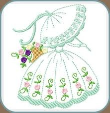 Embroidered crinolin lady with a parasol & a basket of pretty flowers