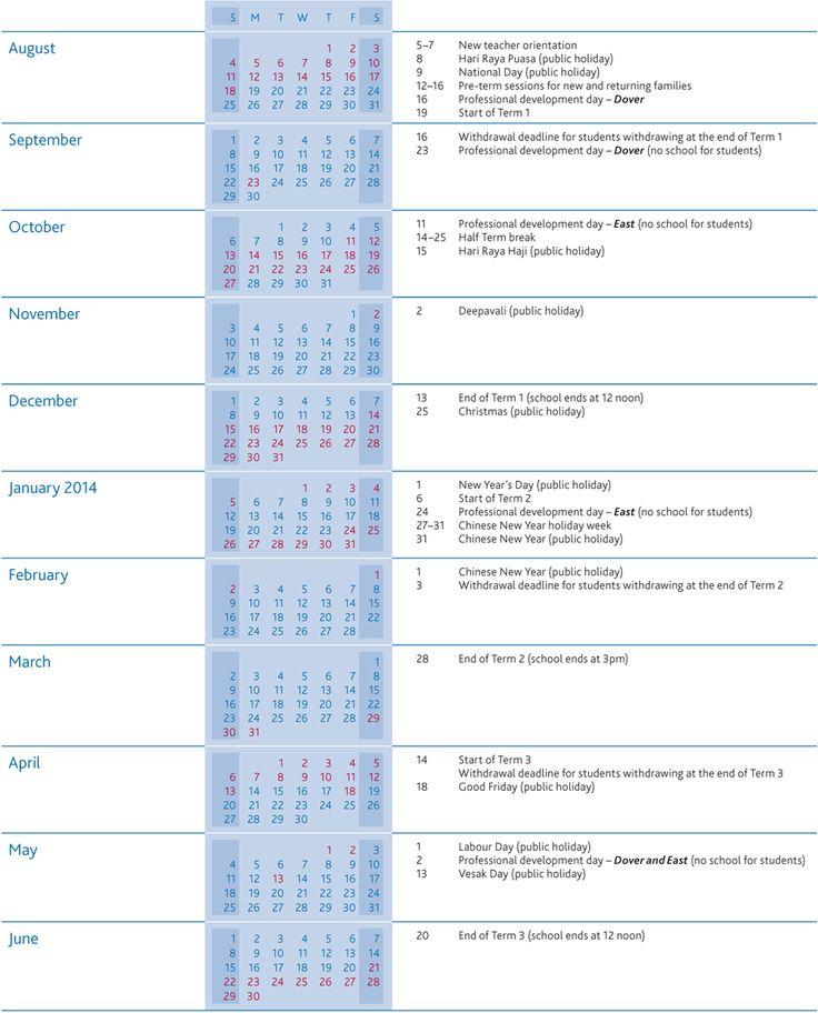 Term Dates   UWCSEA   International school in Singapore