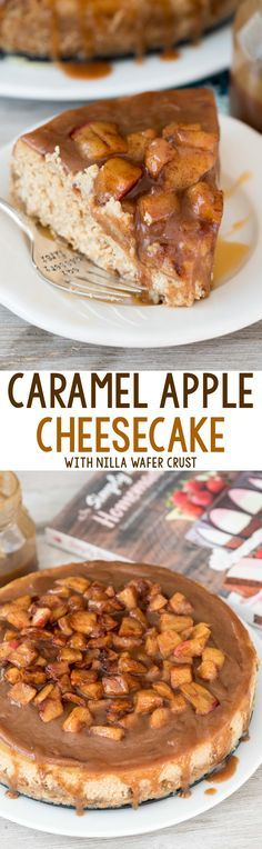 Caramel Apple Cheesecake - this scratch cheesecake recipe is FULL of caramel and apple flavor and has a Nilla Wafer Crust! It's topped with caramel and tons of apples - such a great fall dessert!: