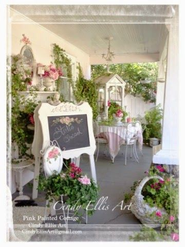 LOVE this shabby chic porch! ~ Sharing our Gardens with you. Ellis (Pink Painted Cottage / cindyellis.blogspot.com /My Romantic Home & Paintings on FB). Visit us on our Facebook: http://www.facebook.com/pages/My-Romantic-Home-Paintings/183233498366057 ...