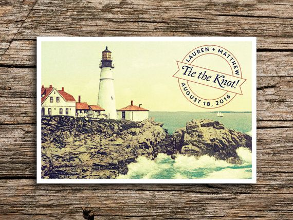 Vintage Lighthouse Save the Date Postcard // New England Save the Date…