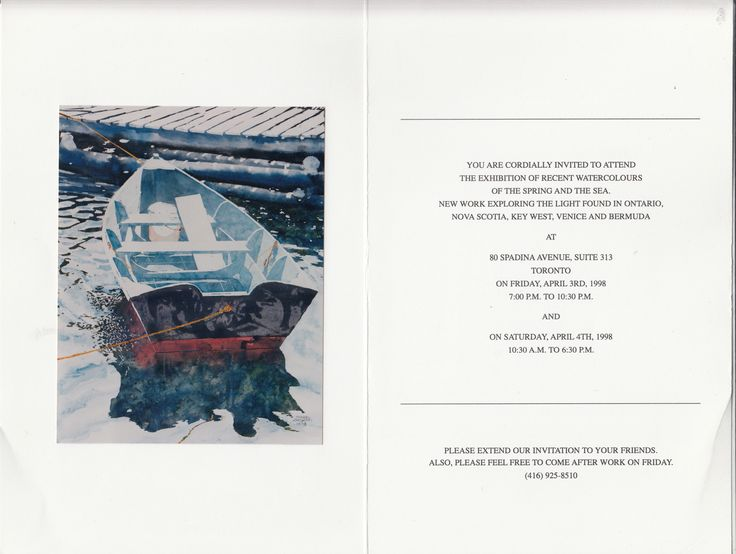 zarowsky boat watercolours from nova scotia  1998 80 spadina 313, toronto
