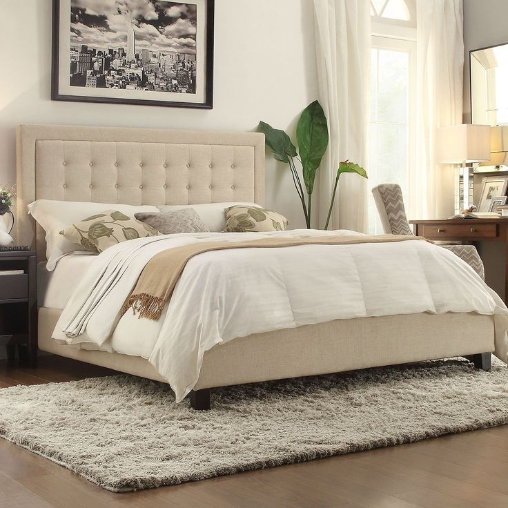 King Size Beige Upholstered Bed With Button Tufted