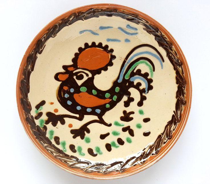 Rustic decor - Traditional Horezu decorative plate - Romanian authentic handmade folk art