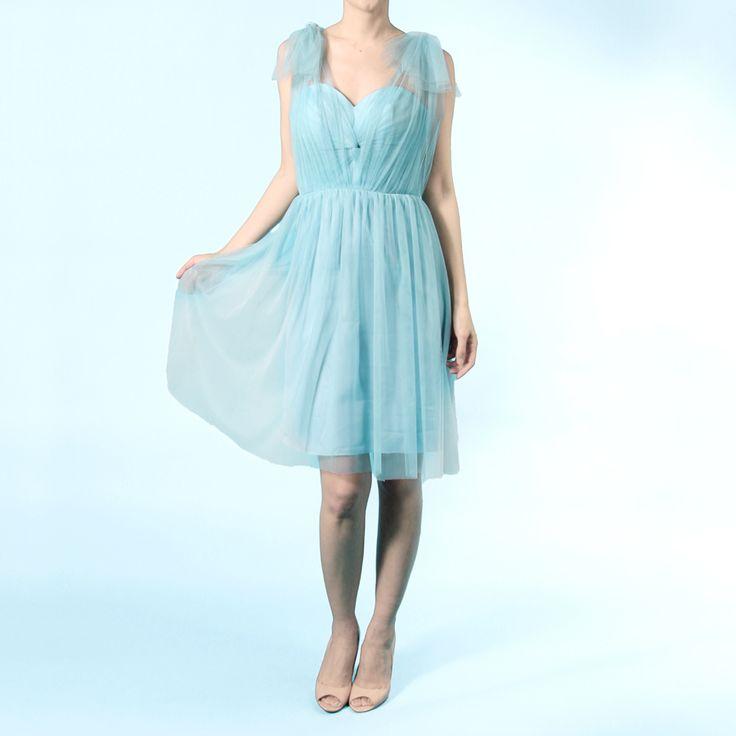インフィニティショートドレス・ボビネット(パウダーブルー)。ボビネットならではのエアリーなボリューム感が魅力。  #Bridesmaid #Wedding #Dress #Blue #Vintage