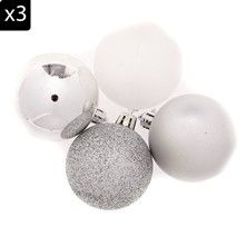 Home and Styling 12 palle per albero di Natale - argento