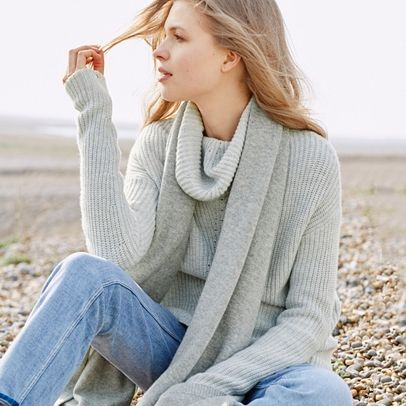 Chunky Roll Neck Ribbed Jumper - Clay