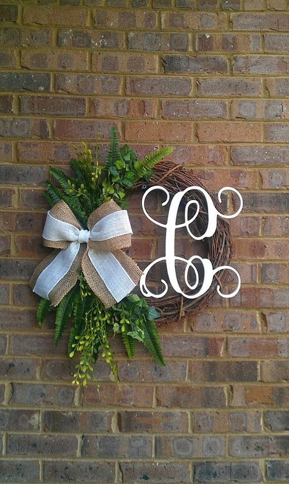 Custom Fern Greenery Outdoor Summer Wreath Monogram Grapevine Wreath with Burlap Bow on Etsy, $62.00