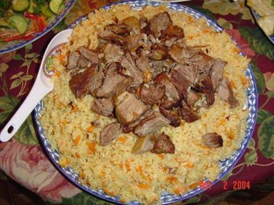 Polo (a Central Asian variant on the word pilaf) is a food staple found across Central Asia, including Kazakhstan, Kyrgyzstan, Uzbekistan, Turkmenistan, Tajikistan, and parts of northwestern China.  The different peoples of each region have their own takes, and their own flavors, for the recipe.  This recipe is for Uyghur polo, the variant of the dish found in Chinas Xinjiang Uyghur Autonomous Region.  Uyghur food is on the whole closer in taste to Indian, Persian, or Mediterranean food…