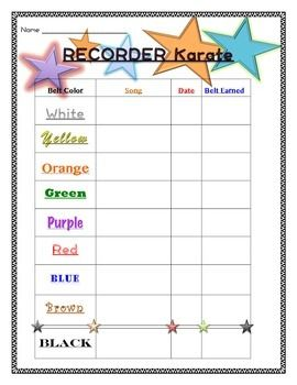 Recorder Karate Log Chart