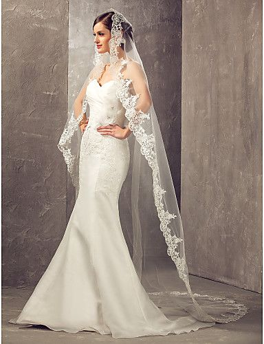 One-tier Cathedral Wedding Veil With Applique Edge - USD $ 98.99